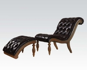 Chair w/ Ottoman in Dark Brown by Acme AC96202