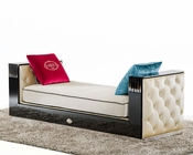 Chaise in Transitional Black Crocodile and Beige Fabric 44L006