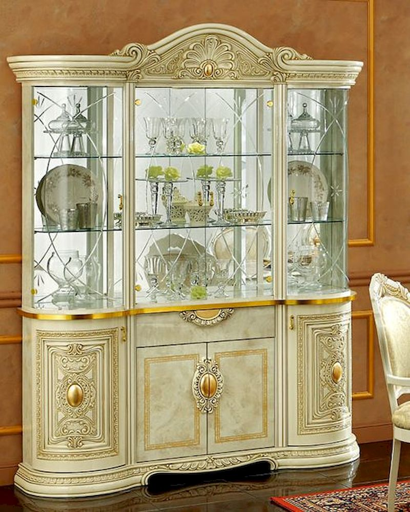 Classic 4 Door China Cabinet In Ivory Finish Made In Italy