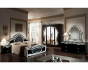 Classic Bedroom Set Black and Silver Finish Made in Italy 44B1811BLSR