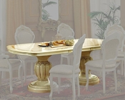 Classic Pedestal Dining Table in Ivory Finish Made in Italy 33D22