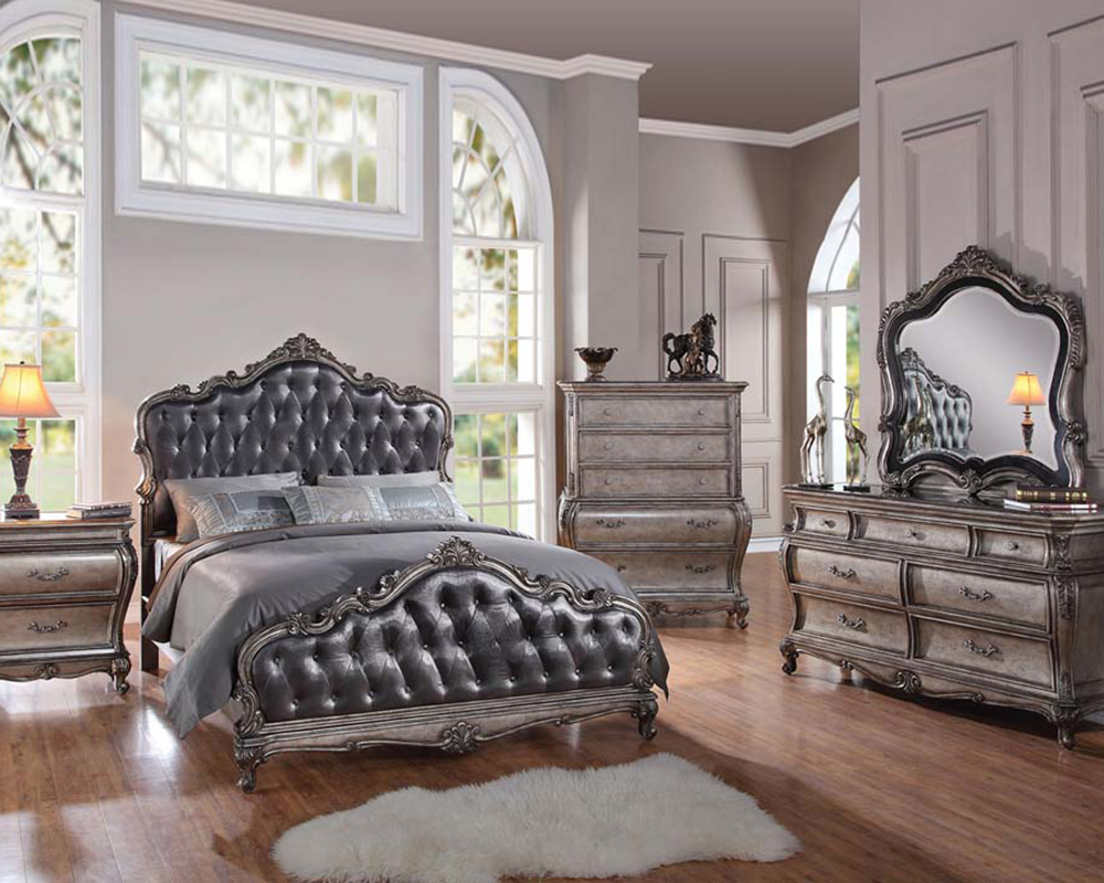 Contemporary Bedroom Set London Black By Acme Furniture: Classic Style Bedroom Set Chantelle By Acme Furniture