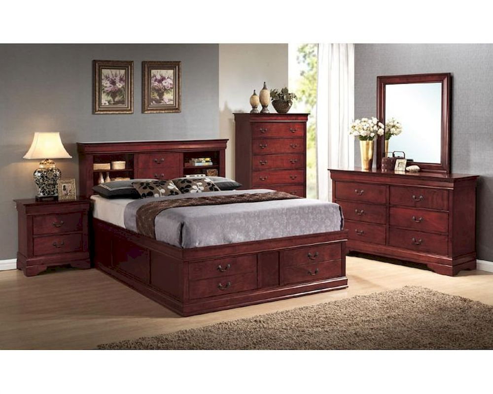 Louis Philippe Furniture Bedroom Coaster Louis Philippe Bedroom Set W Storage In Cherry Co 200439set