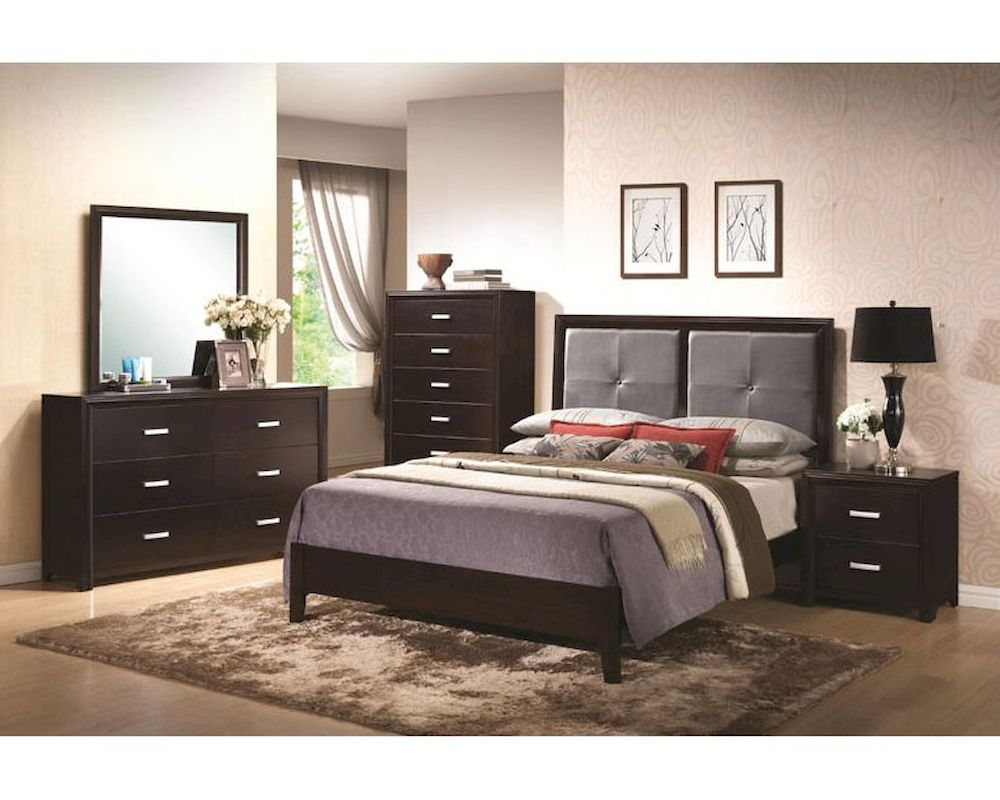 coaster bedroom set w padded headboard andreas co 202471set