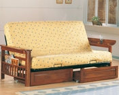 Coaster Furniture Futon Frame with Flip Up Arms in Oak CO4075-76
