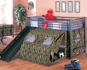 Coaster Furniture Loft Bed with Slide and Tent in Black Oates CO7470