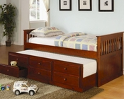 Coaster Furniture Twin Captain's Bed in Cherry La Salle CO300105