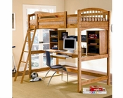 Coaster Furniture Workstation w/ Twin Loft Bed in Oak Bunks CO460053