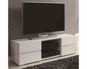 Coaster High Gloss White TV Stand w/ Glass Shelf CO-700825