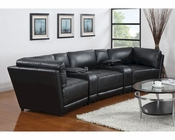 Coaster Leather Sectional Sofa Kayson CO-500890BLK-WHT