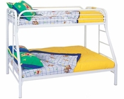 Coaster Twin Over Full Bed w/ Side Ladders Fordham in White CO-2258W