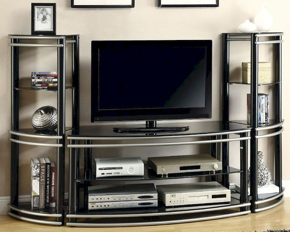 Coaster Wall Unit Demilune TV Stand Amp 2 Media Towers CO