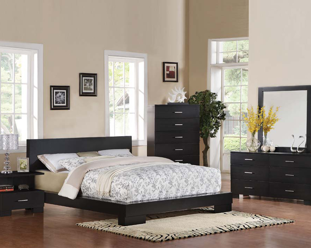 contemporary bedroom set london black by acme furniture ac20060set