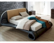 Contemporary Beige/ Blue Leather Bed Made in Italy 44B120BD
