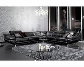 Contemporary Black Drop Patterned Leather Sectional Sofa 44L5959