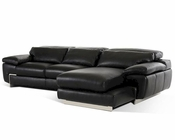 Contemporary Black Full Leather Sectional Sofa 44L5961