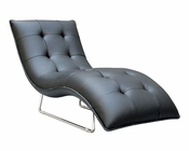 Contemporary Black Leather Chaise 44O1480-BLK