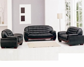 Contemporary Black Leather Sofa Set 44L7174