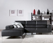 Contemporary Black Leatherette Sectional Sofa 44L6107