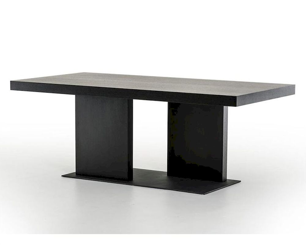 Contemporary Black Oak Dining Table 44d190t Blk