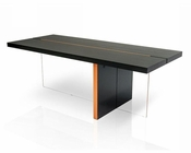 Contemporary Black Oak Floating Dining Table 44D167T