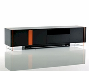 Contemporary Black Oak Floating TV Stand 44D167F