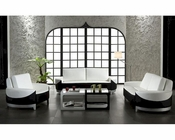 Contemporary Black/ White Bonded Leather Sofa Set 44L0893-BL