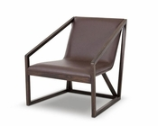 Contemporary Brown Eco-Leather Lounge Chair 44LG511Y