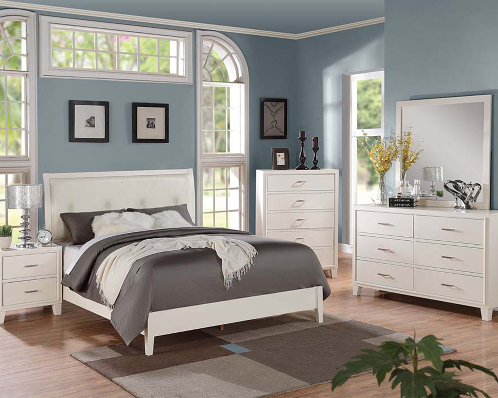 contemporary cream bedroom set tyler by acme furniture ac22540set