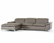 Contemporary Dark Grey Eco-Leather Sectional Sofa 44L5924