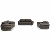 Contemporary Dark Grey Fabric Sofa Set 44L5909