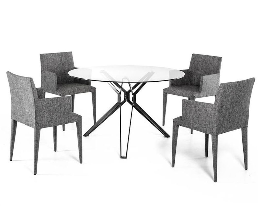 Contemporary Dining Set W Glass Round Table 44d6105set
