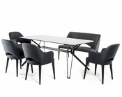 Contemporary Dining Set w/ Smoked Glass Table 44D6112SET
