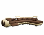 Contemporary Dual Finish Leather Sectional Sofa 44L6093