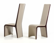 Contemporary Ebony and Taupe Dining Chair 44D13107 (Set of 2)