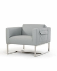 Contemporary Grey Eco-Leather Lounge Chair 44O770-GRY