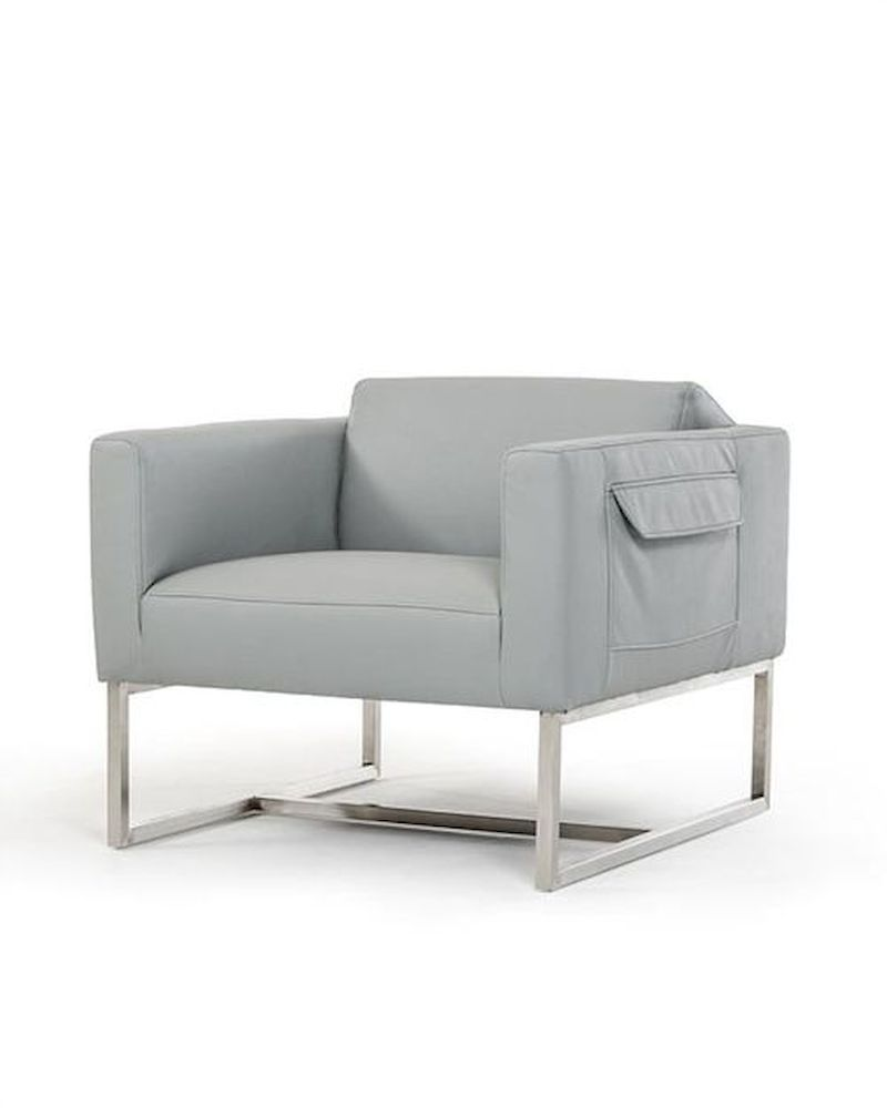 contemporary grey eco leather lounge chair 44o770 gry