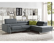 Contemporary Grey Fabric Sectional Sofa Set 44L6055