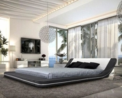 Contemporary Leather Platform Bed with LED Lights 44B166BD