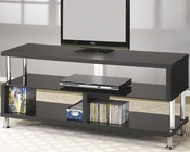 Contemporary Media Console with Glass and Chrome Accents CO700652