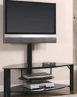 Contemporary Metal and Glass Media Console with Bracket CO700667