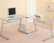 "Contemporary Metal ""L"" Shaped Desk with Glass Top CO7172"