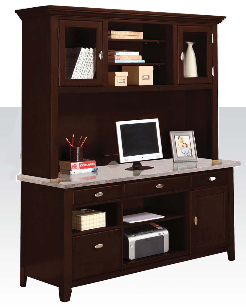 Contemporary office desk w hutch by acme furniture ac92012dh for Impressive office desk hutch details