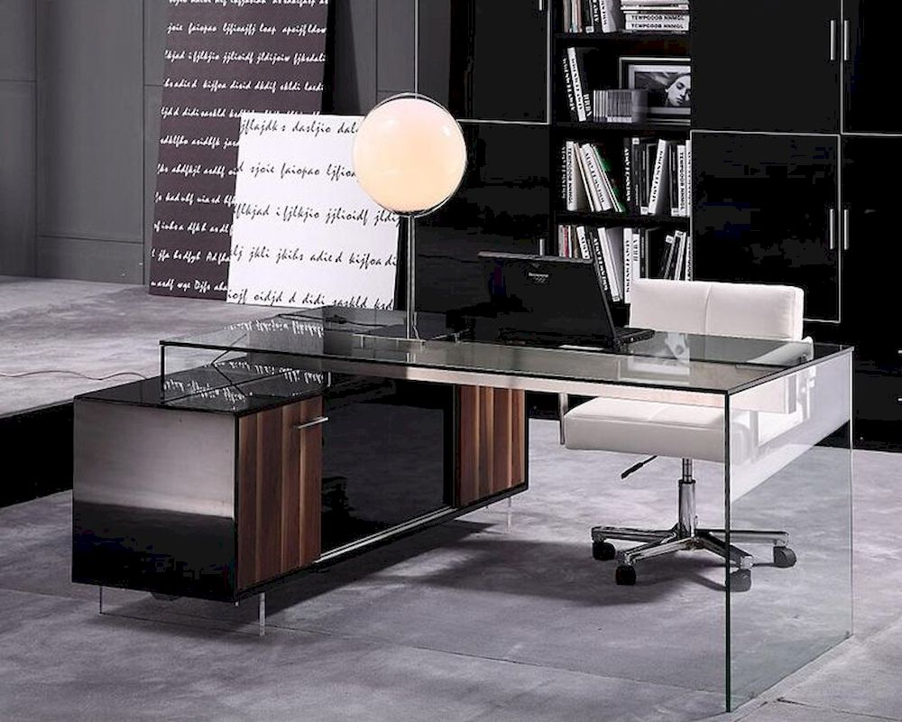 Contemporary Office Set w/ Glass Desk 44F2668-SET