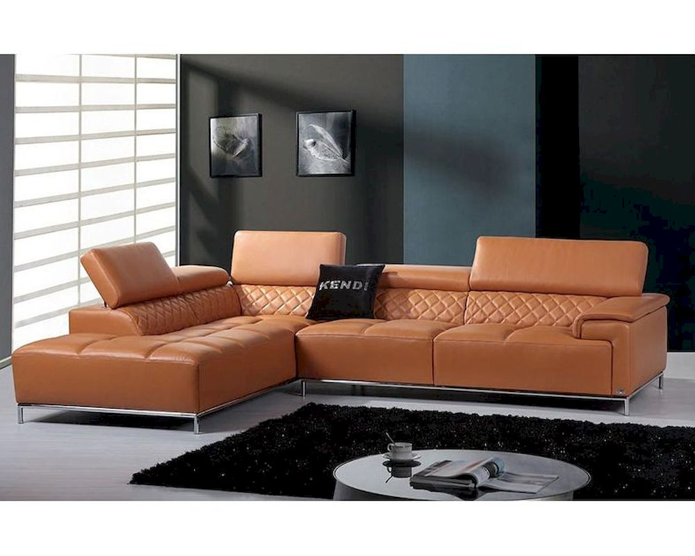 Contemporary Orange Leather Sectional Sofa w/ Audio System ...