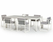 Contemporary Outdoor White Dining Set 44P211-SET