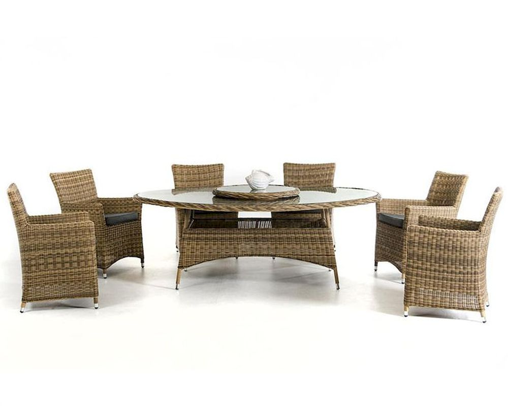 Contemporary Outdoor Wicker Dining Set 44P388 SET