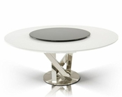 Contemporary Round White Dining Table w/ Lazy Susan 44D833-180