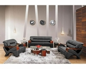 Contemporary Style Black Leather Sofa Set 44L2034-3