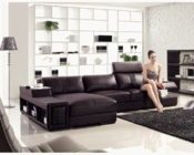 Contemporary Style Sectional Sofa in Brown Leather 44L6037